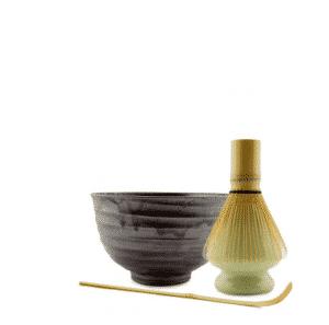 Bol à thé Matcha, fouet, support et cuillère