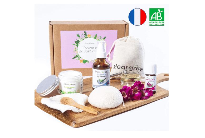 Kit cosmétique DIY BIO - Sérum crème visage liftant anti-rides - Hydratation intense maison peaux sèches, abimées • Huile essentielle BIO Géranium rosat