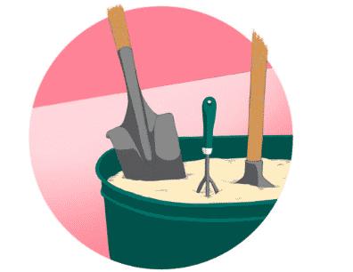 Rouille, Outils de jardinage rouillés
