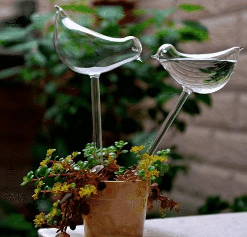 Arrosoir Automatique Forme D'Oiseau Escargot Papillon en Verre